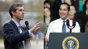 Precandidatos demócratas a la presidencia de EE UU: Beto O'Rourke (El Paso) y Julián Castro (San Antonio), ambos texanos. Foto: San Antonio Current.