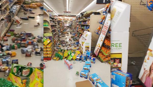 Imágenes de un almacén tras el terremoto del jueves 4 de julio de magnitud de 6.4 en el desierto de  Mojave, a unas 150 miles (240 kilómetros al noreste de Los Ángeles. Foto: www.wcjb.com.