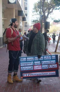 Choferes de la manifestación que piden se apruebe la Ley AB5.