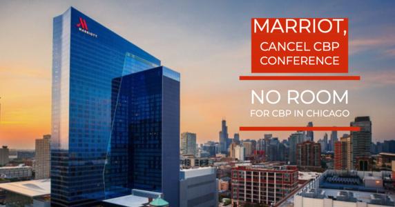 Marriott Marquis Chicago no acoge el Simposio de Comercio de Aduanas y Protección Fronteriza de los Estados Unidos (CBP) 2019. Foto: http://www.notonemoredeportation.com/.