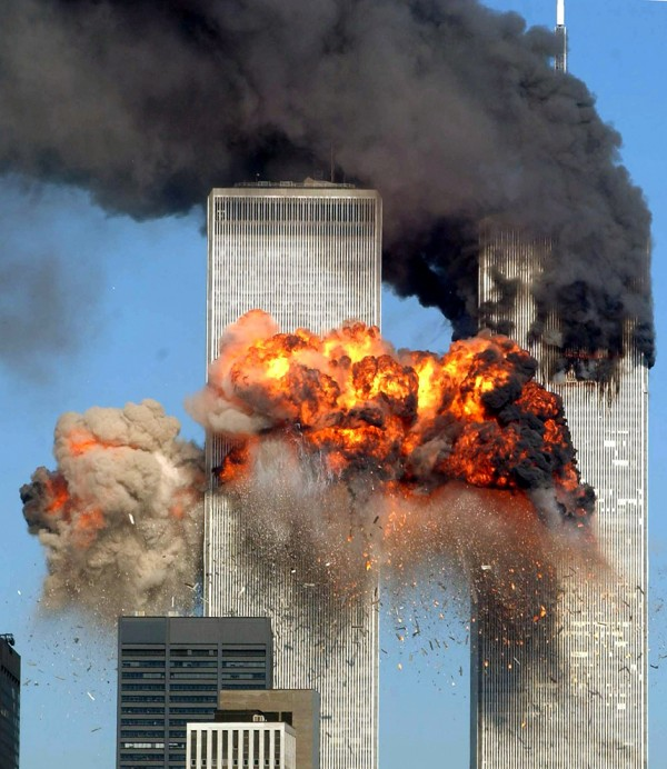 Las derribadas Torres Gemelas tras los atentados terroristas del 11 de septiembre de 2001 en NY. Foto: National Geographic.