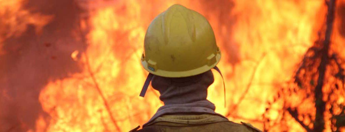 Bombero mira azorado uno de los pavorosos incendios de la Amazonía. Foto: news.mongabay.com.