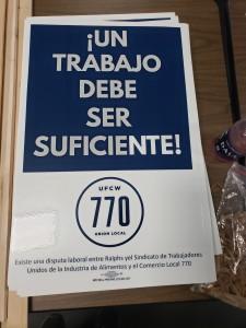 Mensaje en una de las pancartas