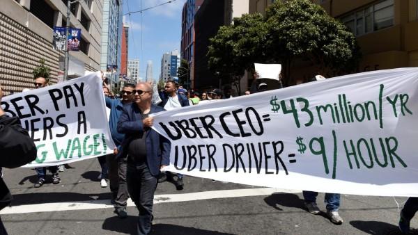 Trabajadores independientes, falsamente considerados por miles de empleadores como contratistas independientes, se lanzaron a las calles en apoyo a la AB%. Foto: www.qz.com.