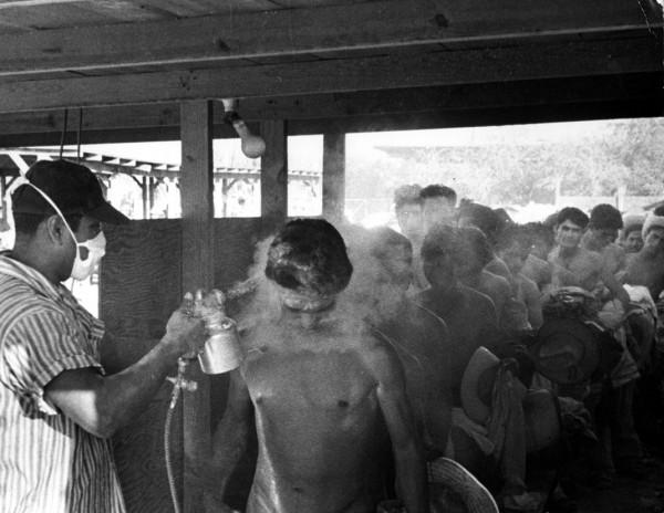 Trabajadores mexicanos del Programa Bracero a su entrada a Estados Unidos son desinfectados por las autoridades de Inmigración en la década de los 40.