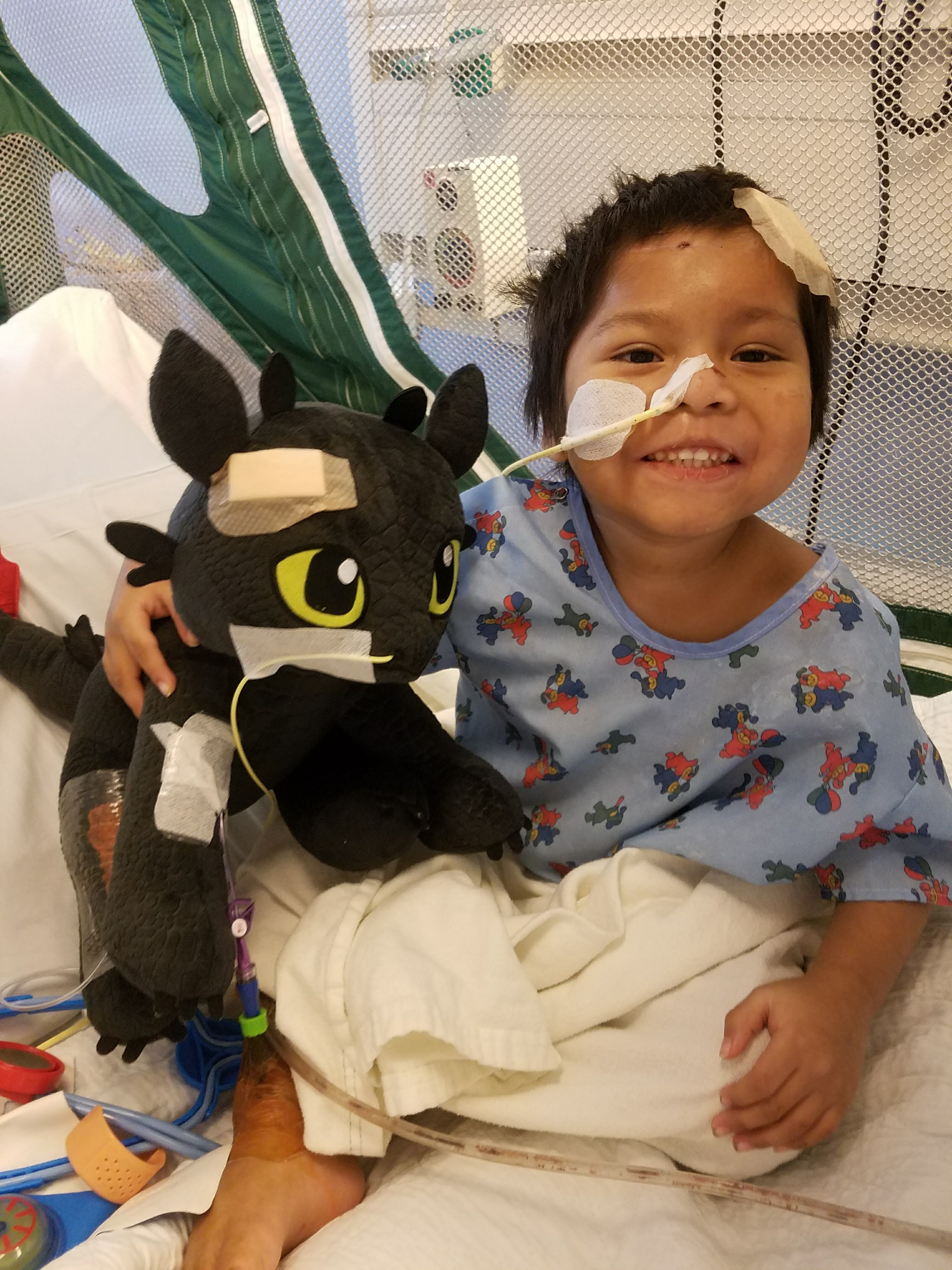 During his 11-month stay in the hospital, Abraham's stuffed animals received bandages and a feeding tube out of solidarity with the recovering boy. Credit: UCLA