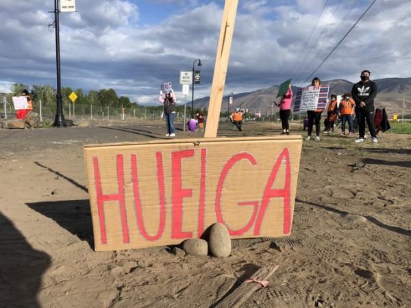 Trabajadores en huela prote4stan contra la gran cantidad de trabajadores latinos infectados con coronavirus. Foto: Familias Unidas.