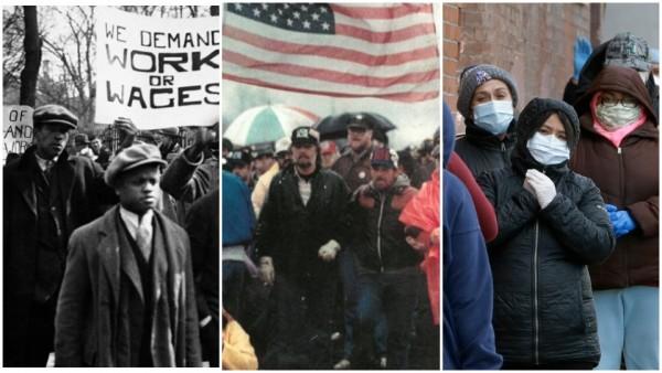 El 6 de marzo de 1930 manifestantes organizados por el Consejo Nacional de Desempleados se reúnen frente a la Casa Blanca en Washington antes de una gran protesta por el Día Internacional del Desempleo. Al centro, trabajadores del USW Local 1104 bloquean la vía del ferrocarril en una planta siderúrgica de EE. UU., en 1986. En la derecha, personas con máscaras protectoras se alinean en una despensa para la distribución gratuita de alimentos, 16 de abril de 2020, en Chelsea, Massachusetts.  Fotos Foto: Archivos de CPUSA / USW Local 1104, Facebook. Y Steven Senne.