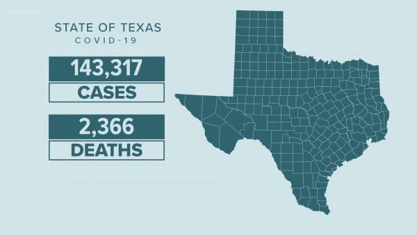 Mapa del estado de Texas con las zonas afectadas por el Covid-19. Foto: https://www.khou.com.