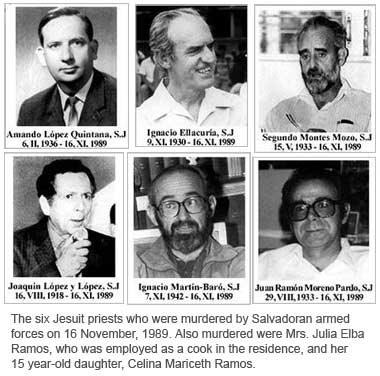 Los seis jesuitas asesinados por las fuerzas Armadas de El Salvador el 16 de noviembre de 1989. Foto: Ignatian Slidarity Network.
