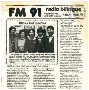 Miembros del programa Oldies But Goodies, uno de los programas de la nostalgia musical en el segundo año de transmisión de Radio Bilingüe.