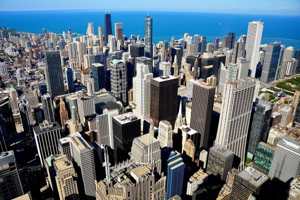 Vista aérea de la ciudad de Chicago. Foto: Wikipedia.