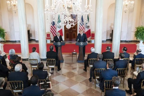 En conferencia los presidentes de México, Andrés Manuel López Obrador y de Estados Unidos, Donald Trump. Foto: https://www.whitehouse.gov.