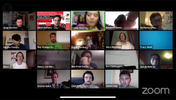 Expertos en el tema de los desalojos de vivienda en Colorado realizan una Asamblea Pública virtual, a través de la plataforma Zoom en las redes sociales, con organizadores locales. Foto:  capturada de Facebook.
