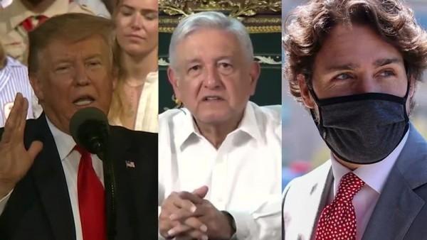 Presidentes Donald Trump, Andrés M. López Obrador y Justin Trudeau. Foto: https://www.wvlt.tv.