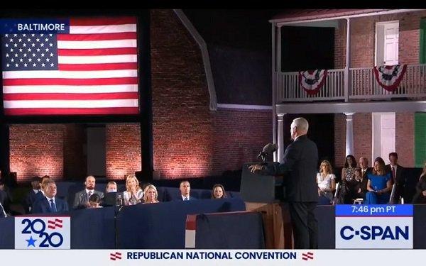 El vicepresidente Mike Pence en el 3er noche de la convención Nacional Republicana. Foto: https://www.mediapost.com.