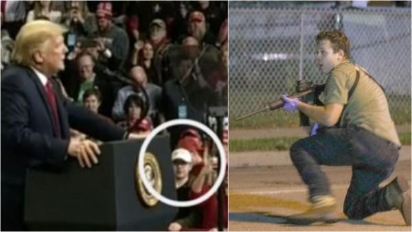 El asesino de Kenosha, Kyle Rittenhouse, que aparece en medio del círculo en la foto a la izquierda, y que fue visto en la calle en el momento de su ola de asesinatos el martes por la noche, asistió a un mitin de reelección del presidente Donald Trump en Des Moines, Iowa, en enero. Foto: Twitter.