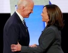 En sus discurso de arranque de campaña por la presidencia de Estados Unidos Joe Biden y Kamala Harris. Foto: https://freenews.