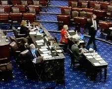 En la votación del Senado sobre el proyecto de ley de ayuda por la pandemia de Covid-19.
