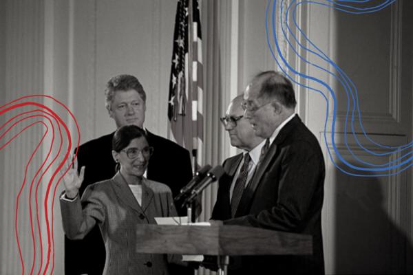 Ruth Bader Ginsburg, en la toma de posesión como Jueza Asociada de la Suprema corte de Justicia de EE UU. Tras ser nombrada por Bill Clinton, atrás en el cuadro. Foto: https://www.genderontheballot.org.