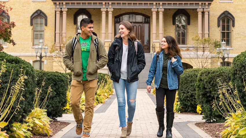 Estudiantes en la universidad de Notre Dame, en Indiana. Foto: https://admissions.nd.edu.