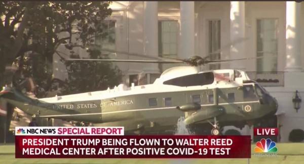 El presidente llegando a la Casa Blanca tras dejar el hospital donde estuvo interno tres días. Foto: Tweeter.