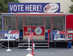 A recently launched mobile voting in unit in Madera County. Officials hope it will make voting more accesible. Photo by Maria Esquinca.
