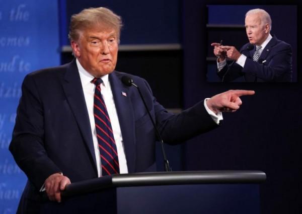 Presidente Donald J. Trump, candidato republicano a la reelección, y Joe Bden, candidato  presidencial demócrata 2020. Foto: https://www.freep.com.