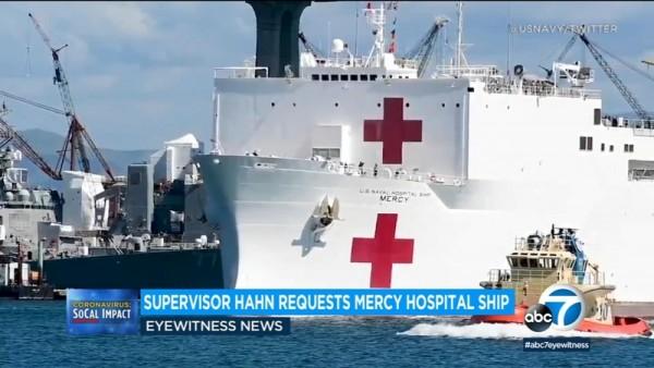 El supervisor del condado de Los Ángeles solicita al USNS Mercy, el barco hospital, que regrese, y regresó. Foto: ABC7 L.A.
