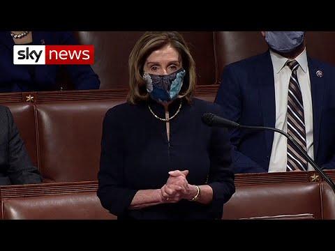 La presidenta de la Cámara de Representantes de EE UU, Nancy Pelosi, tras el debate sobre el impeachment. Foto: https://www.modernghana.com.
