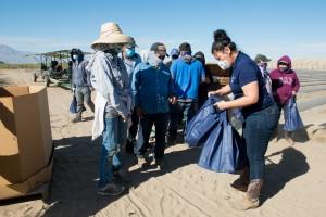 Luz Gallegos, directora ejecutiva de TODEC reparte bolsas que contienen planfletos con información sobre la vacuna contra covid, una caja de máscaras faciales, otra de guantes, desinfectante de manos y una tarjeta de regalo para una tienda de comestibles.