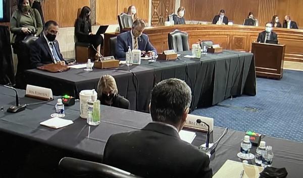 Durante la audiencia de confirmación de Xavier Becerra en el Senado.