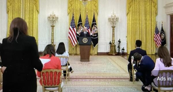 El presidente de Estados Unidos, Joe Biden en su primera conferencia de prensa como mandatario. Foto: José López Zamorano.