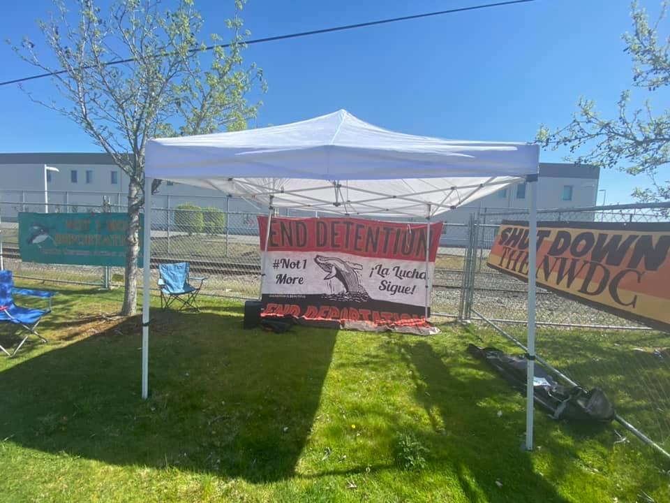 Campamento permanente de La Resistencia, a las afueras del Centro de Detención del Noroeste. Foto: La Resistencia.