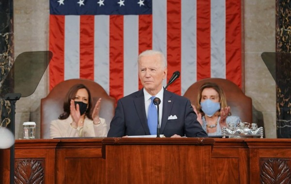El presidente de EE UU, Joe Biden en su primer discurso a la nación. Foto: White House.