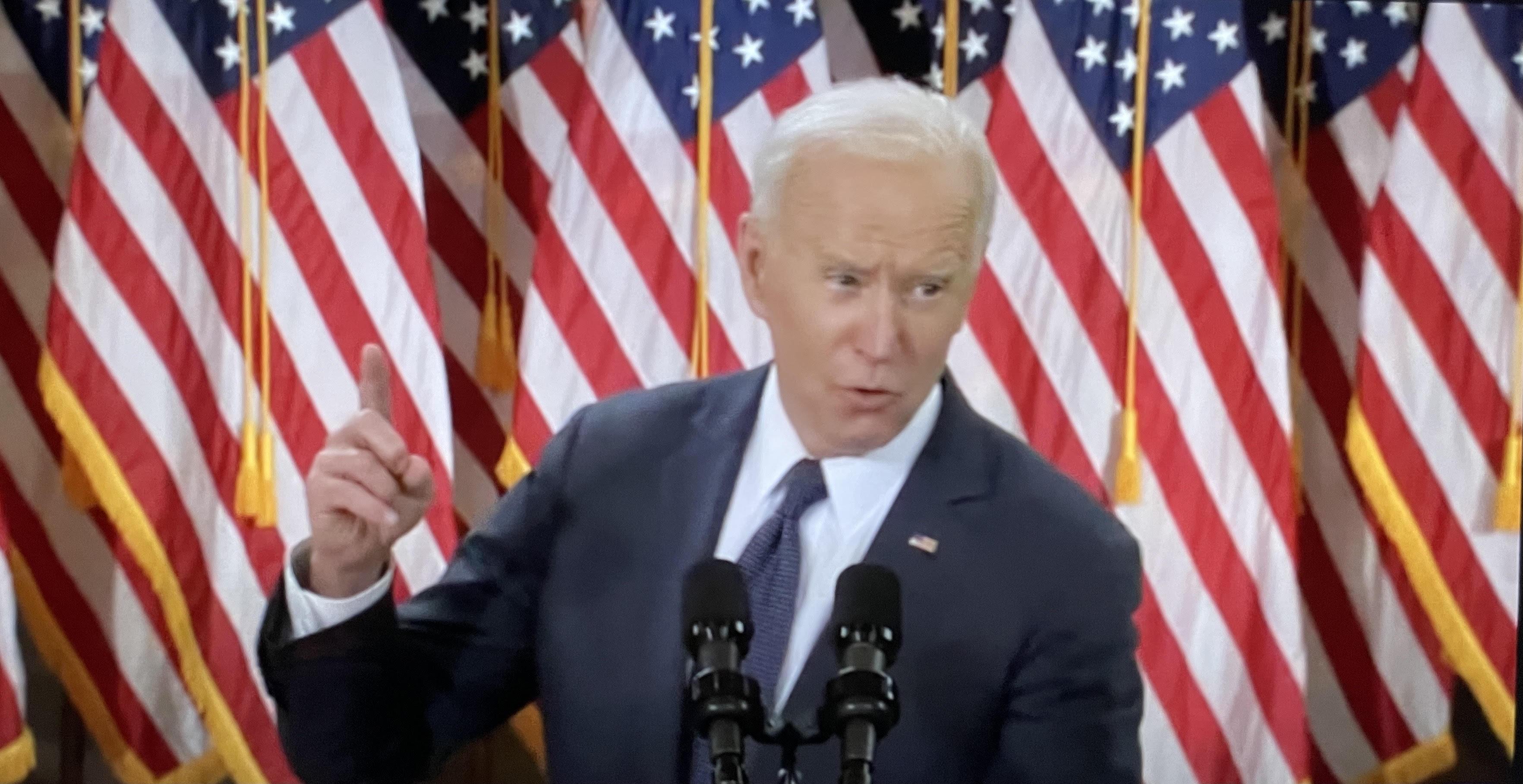 Presidente Joe Biden, en el anuncio sobre su paquete de gastos para la infraestructura y los trabajos en EE UU. Foto: José López Zamorano.