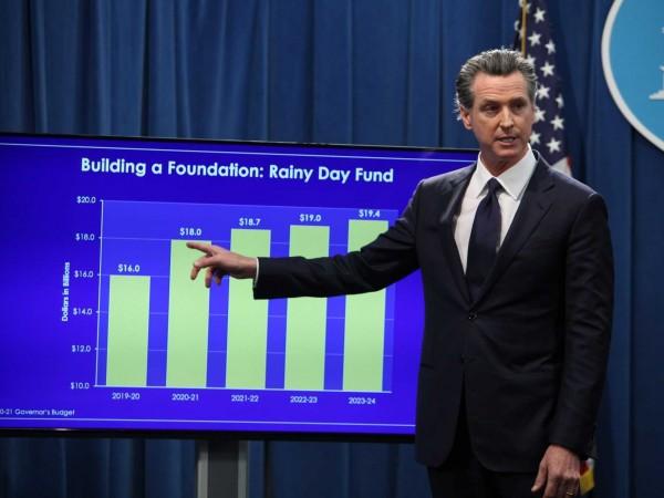 El gobernador de California, Gavin Newsom presentando su prpuesta de presupuesto para 2020-2021. Fot: Andrew Nixon / CapRadio.