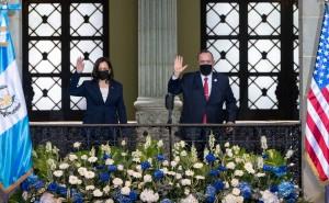 La vicepresidenta de Estados Unidos, Kamala Harris y el presidente de Guatemala, Alejandro Gimattei. Foto: @radioperiodistas de Guatemala.
