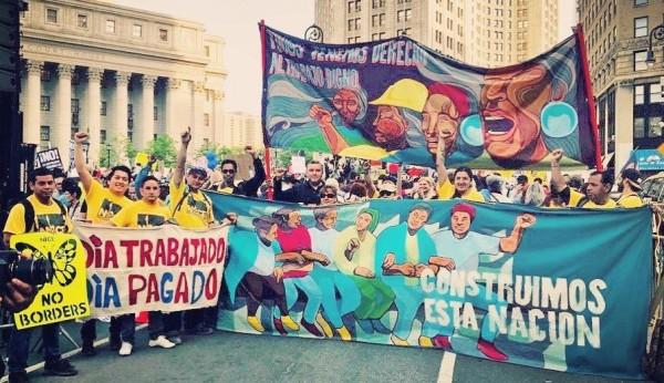 Trabajadores indocumentados y aliados protestan en Nueva York para acceder al fodo para os Trabajadores Excluidos. Foto: https://www.nynice.org/aboutnice.